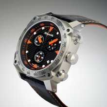 Môntrèk Chronograph - Stainless Steel, Orange Dial Markings, Black Leather/Orange Stitched Strap