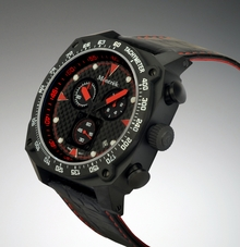 Môntrèk Chronograph - Black PVD, Red Dial Markings, Black Leather/Red Stitched Strap